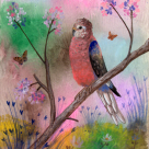 """A portrait of my adorable rosey Bourke parakeet, Gypsy. This acrylic painting appears in my poetry book, """"GRATITUDE""""."""