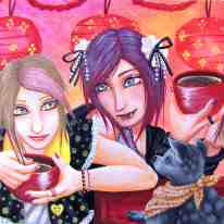 Anime-inspired boys. This piece was created on water color board with acrylic paint. ''Hohoemi'' means ''to smile'' in japanese.