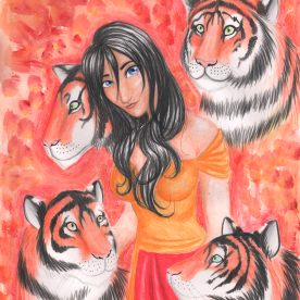 This is my first attempt at drawing tigers, which I think turned out pretty good! Julianna and her tigers were drawn in ink and colored pencil, and the background was painted in acrylic.