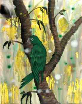 Painted in acrylic, the ''Jungle Ace''; a Mitred conure, rules his awesome world.
