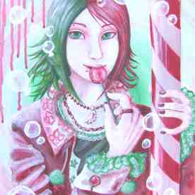 """""""Subarashii"""" means """"splendid"""" or """"wonderful"""" in Japanese. This anime-style boy was painted in acrylic on canvas board. At first this acrylic piece was going to be in full color, but the """"watermelon"""" effect was far too enchanting."""