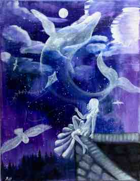 A dreamscape, both literally and figurativly. These ghosts were captured in acrylic on stretched canvas.