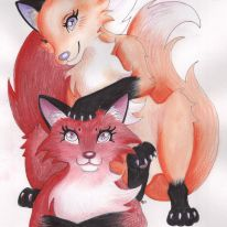 """Sonya and Sophia are red fox kits brought to life through mix-media. You can find this picture in my animal-themed poetry book, """"GRATITUDE""""."""