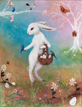 Here is my version of the Easter Bunny. She was painted in acrylic on stretched canvas.