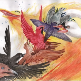 This water color image depicts both the beauty and harshness of change. This painting wasn't really about birds, but rather a spirit that can't stop coming back.