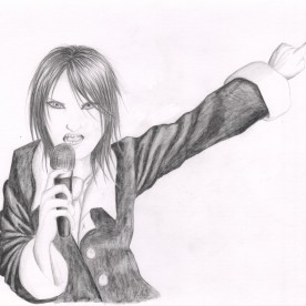 """""""Gen Sings"""" is a sketch that I did with black colored pencil on bristol board. I wanted to capture the power and intensity of a rock artist making his point."""