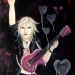 """""""Guitar Boy"""" was painted in acrylic on stretched canvas. He rocks out on a pink electric guitar and lives in the sound!"""