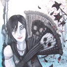 Here is a J-rock inspired vampire. He was painted in acrylic on canvas board.