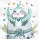 Chibi-style watercolor.